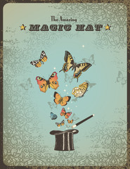 magic poster with top hat, wand and colorful butterflies