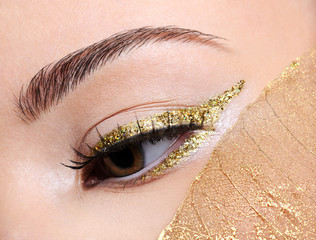 Golden fashion eye  make-up