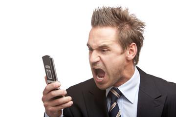 Businessman has stress - Mann schreit ins Telefon