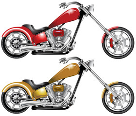 One red one sepia highly detailed custom choppers