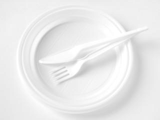 white disposable dishware