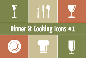 Dinner & Cooking Icons: Restaurant and Catering Graphics