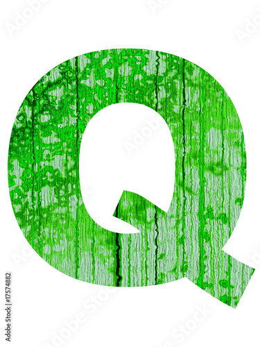 high resolution green and old Q font isolated on white