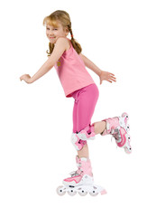 Small girl on roller-skate