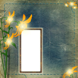 Frame for photo with flowers on the shabby background poster