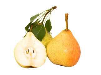 Ripe pears and segment isolated on white