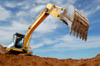 canvas print picture - Excavator loader in sandpit
