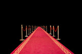 Red carpet on black background poster