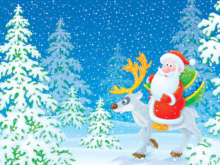 Santa Claus riding on the reindeer in the winter forest