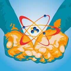 mani con atomo