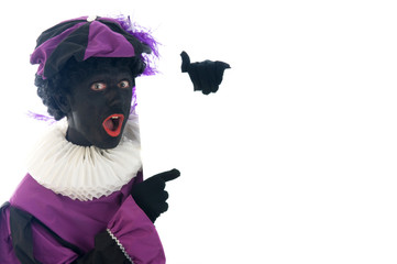 Zwarte Piet with white board, for your own text.