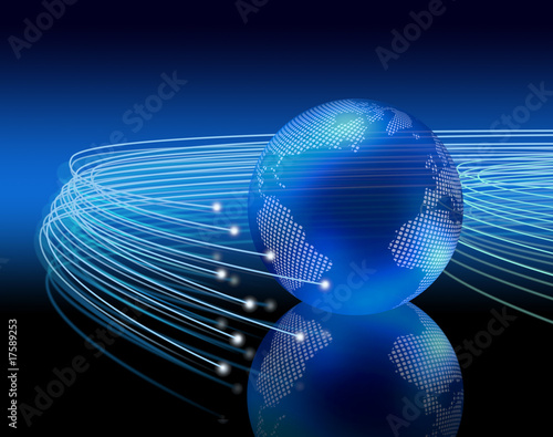 Optical fibres around earth
