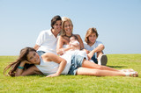 Happy family on grass