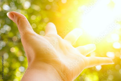 Hand outstretched to  sun