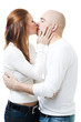 Couple kissing standing and embrace