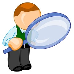 Man with big magnifying glass look for something