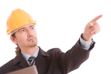 Engineer with yellow hat, pointing forward