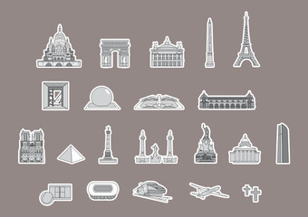 PLAN TOURISTIQUE PARIS- Monuments - France - Set 4