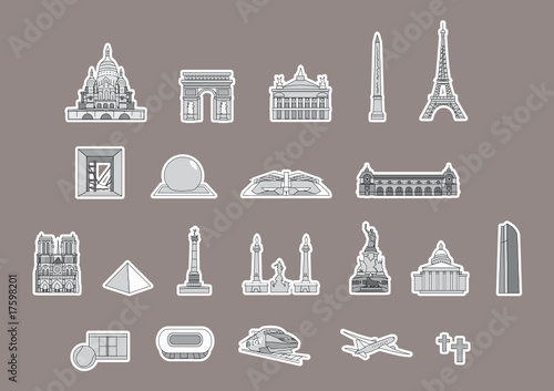 Plan touristique paris monuments france set 4 stock for Paris carte touristique