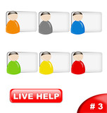 colorful live help icon set, part 3