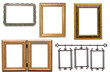 Set of antique metal and wooden picture frame