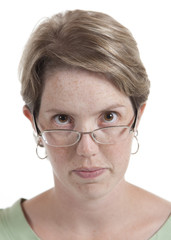 Woman Upset and Looking Over Glasses