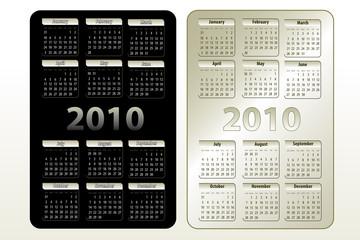 Vector calendars for 2010