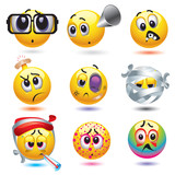 Smiley balls with different diseases poster