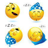 Fototapety Sleeping smiley balls in different position