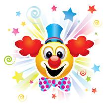 Smiley ball jako klaun w cyrku