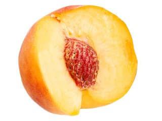 Fresh peach isolated on a white background