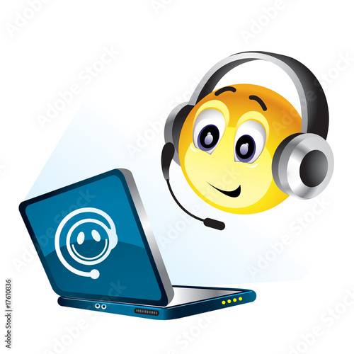 Smiley ball working on their computer