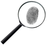 Magnifier and fingerprint isolated on white
