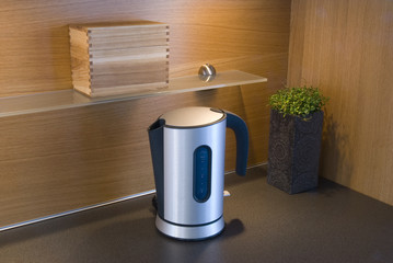 a stylish water boiler in a kitchen