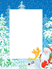 Christmas photo frame with Santa Claus riding on reindeer