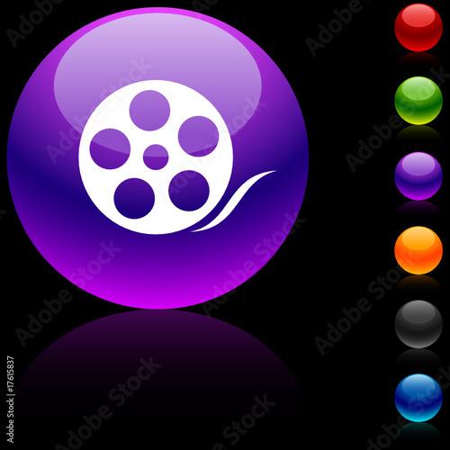 poster of Media  glossy icon. Vector illustration