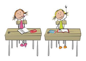 2 fillettes école