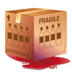 Caisse de bouteilles de vin endommagée