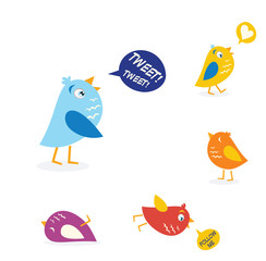 Colored twitter birds set. Vector Illustration.