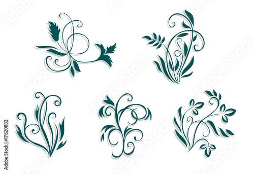 Keuken foto achterwand Vlinders in Grunge Floral decorations