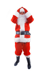 surprised santa claus over white background