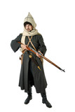 Man in vintage costume of Russian Cossack with rifle.