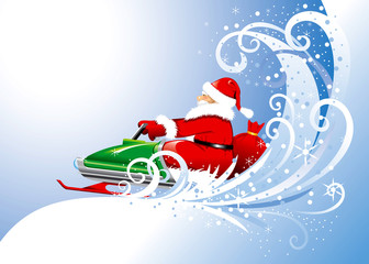 Santa Claus on a snowmobile. Vector editable.