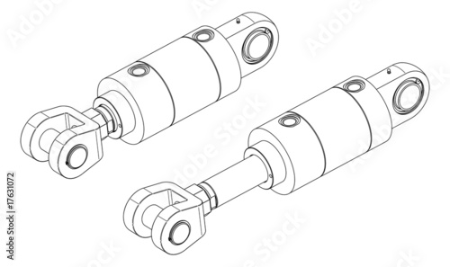 Vector drawing of hydraulic cylinder on white background