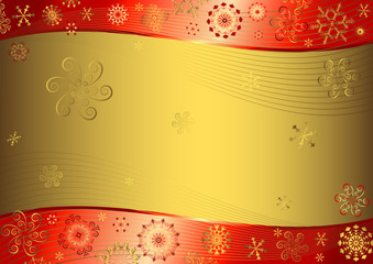 Red christmas background with golden snowflakes
