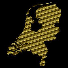 Netherlands map with euro symbols on black illustration