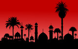 very detailed vector indian monument and palm trees silhouettes