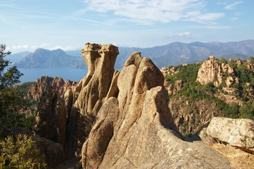 rocks formations of Calanche de Piana in Corsica