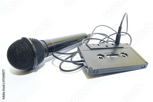 Microphone connected to tape