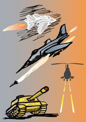 Military  jets and tank. Vector illustration.